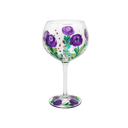 Hand Painted Purple Rose Gin Glass
